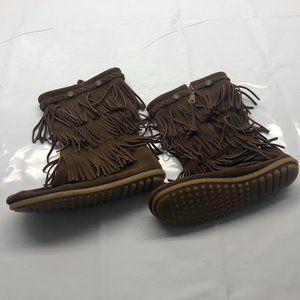 Minnetonka Calf Length Brown Fringe Leather Girl 4